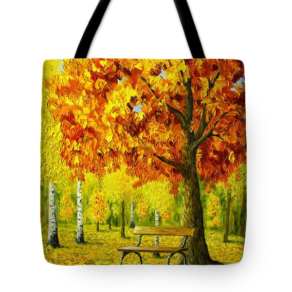 Bench Under The Maple Tree Tote Bag