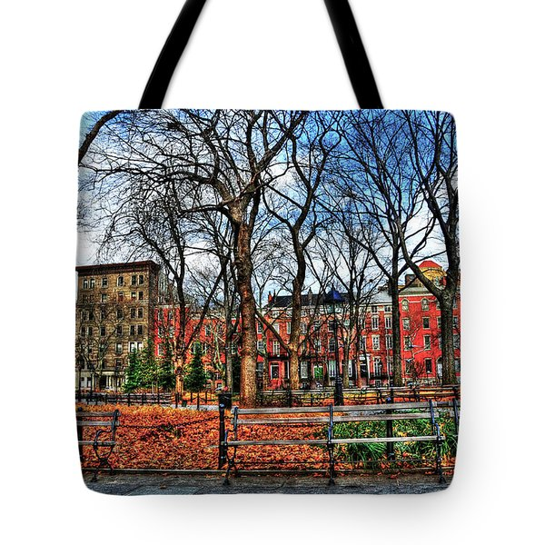 Bench View In Washington Square Park Tote Bag