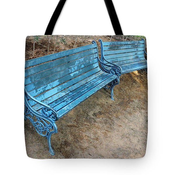 Benches And Blues Tote Bag by Prakash Ghai