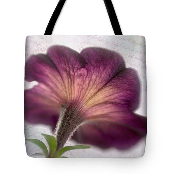 Tote Bag featuring the photograph Beneath A Dreamy Petunia by David and Carol Kelly