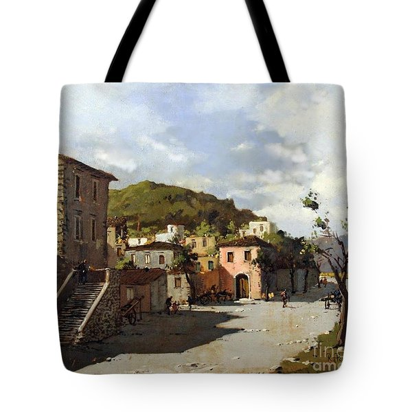 Tote Bag featuring the painting Provincia Di Benevento-italy Small Town The Road Home by Rosario Piazza