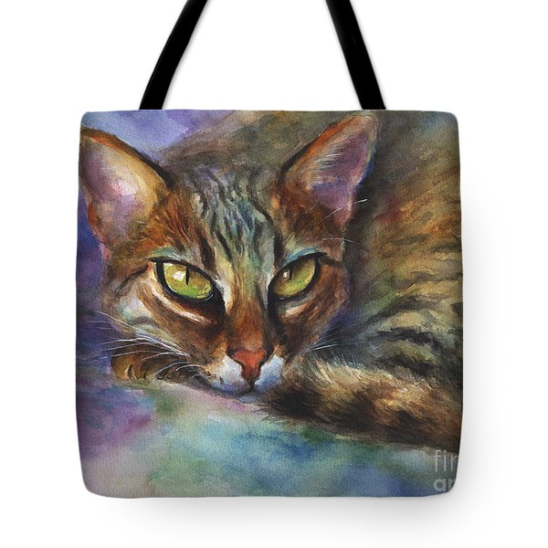 Bengal Cat Watercolor Art Painting Tote Bag