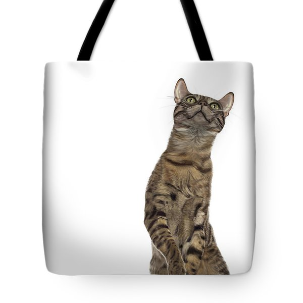 Bengal Cat With Butterfly Tote Bag