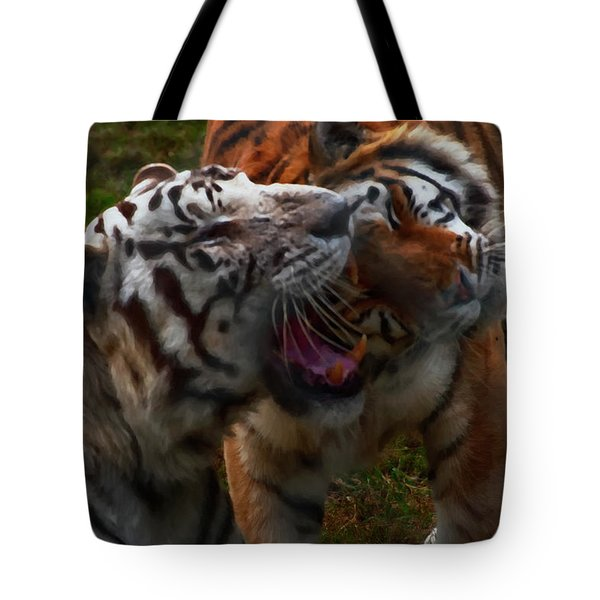 Tote Bag featuring the photograph Bengal Tiger And White Bengal Tiger by Chris Flees