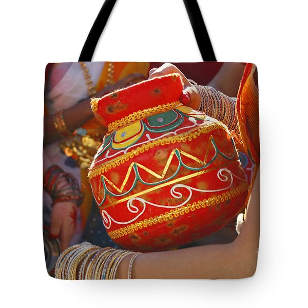 Bengali Maiden Dancers With Water Jars Tote Bag by Charline Xia