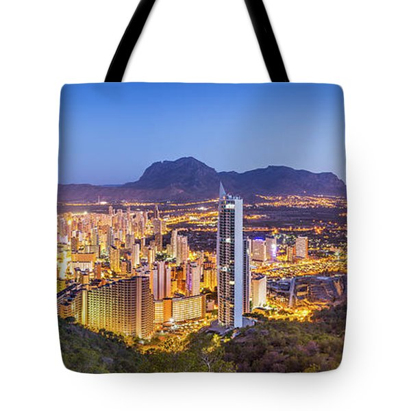 Tote Bag featuring the photograph Benidorm At Sunrise, Spain. by Gary Gillette