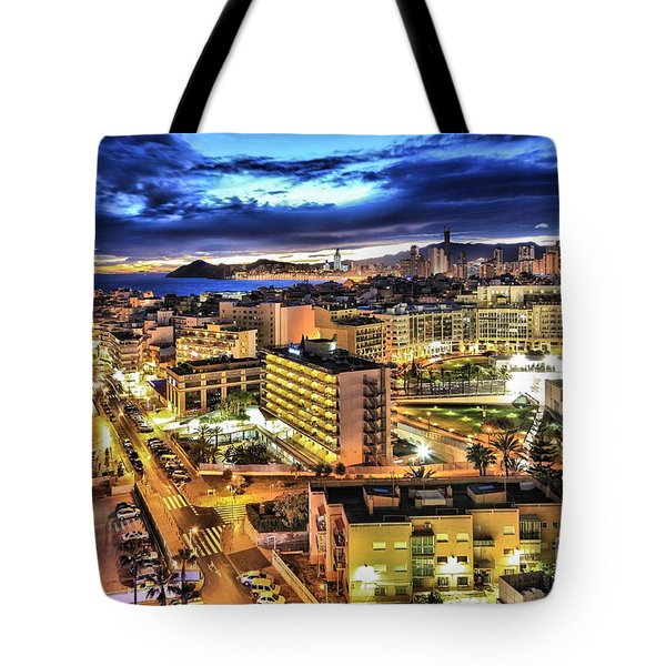 Benidorm Spain At Night Tote Bag