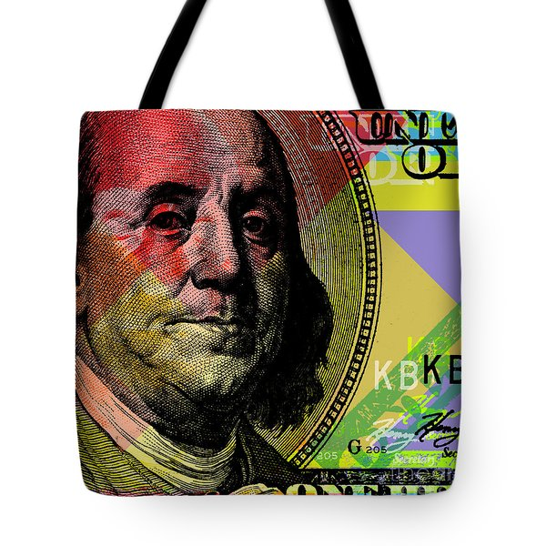 Benjamin Franklin - $100 Bill Tote Bag by Jean luc Comperat