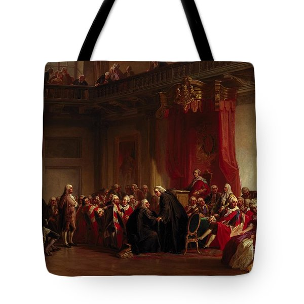 Benjamin Franklin Appearing Before The Privy Council  Tote Bag by Christian Schussele