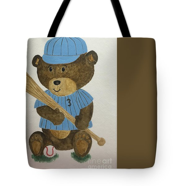 Tote Bag featuring the painting Benny Bear Baseball by Tamir Barkan