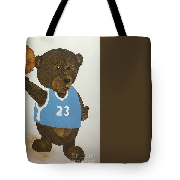 Tote Bag featuring the painting Benny Bear Basketball  by Tamir Barkan
