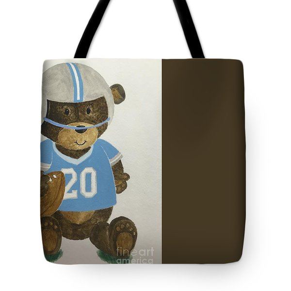 Tote Bag featuring the painting Benny Bear Football by Tamir Barkan