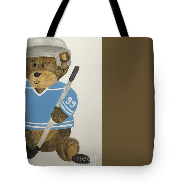 Tote Bag featuring the painting Benny Bear Hockey by Tamir Barkan