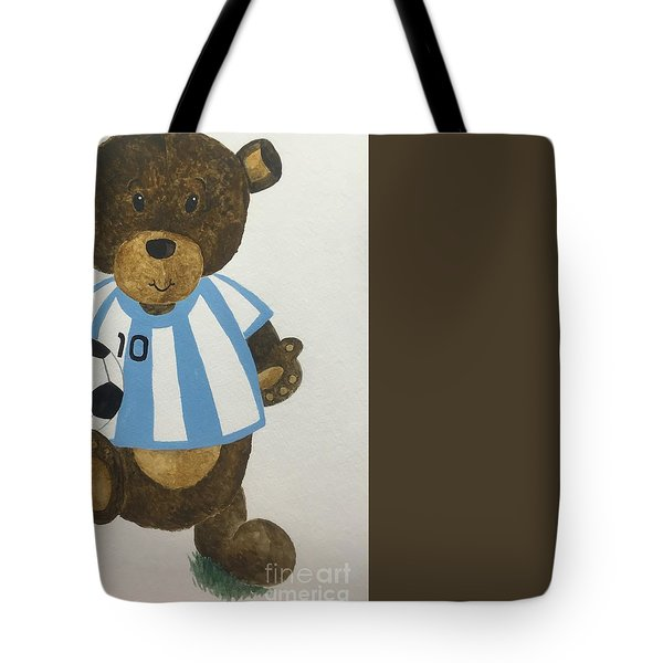 Tote Bag featuring the painting Benny Bear Soccer by Tamir Barkan