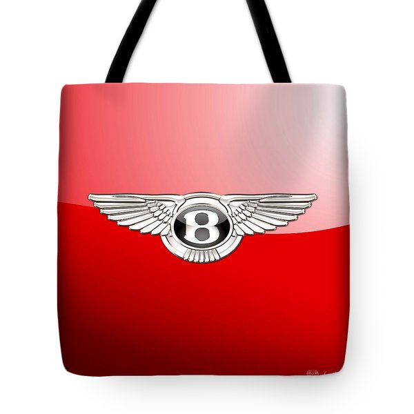 Bentley 3 D Badge On Red Tote Bag