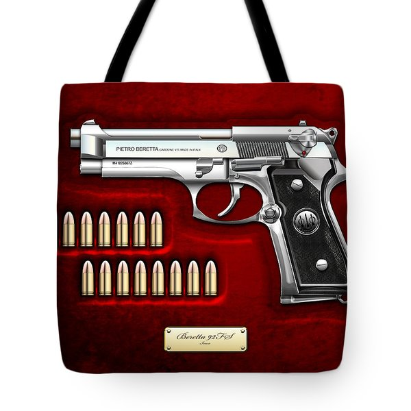 Beretta 92fs Inox Over Red Velvet Tote Bag