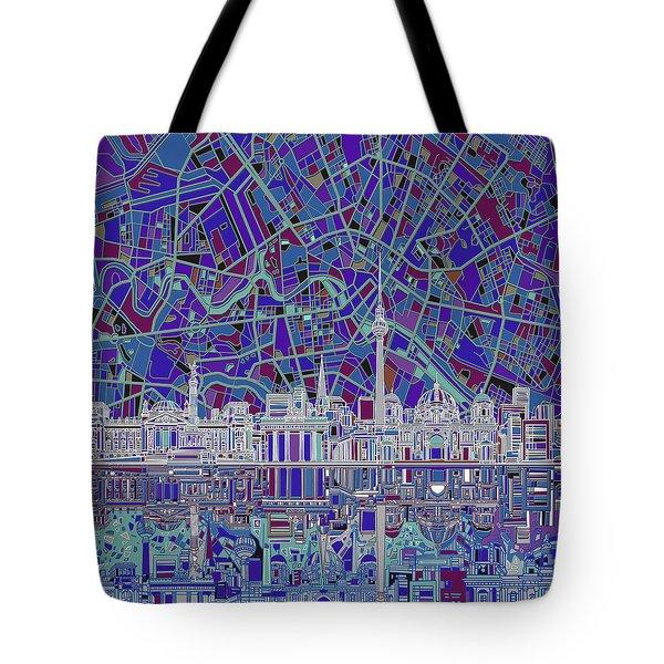 Berlin City Skyline Abstract 3 Tote Bag by Bekim Art