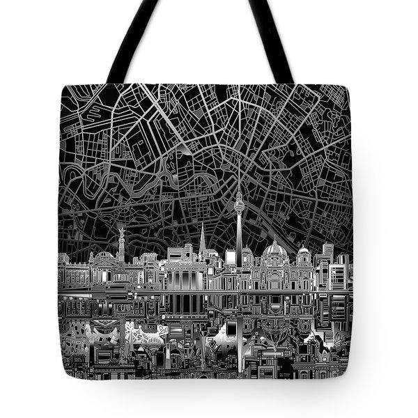 Berlin City Skyline Abstract 4 Tote Bag by Bekim Art