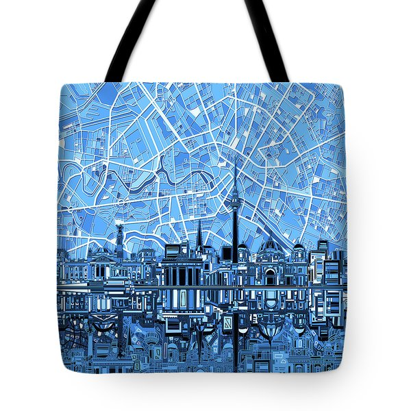 Berlin City Skyline Abstract Blue Tote Bag by Bekim Art