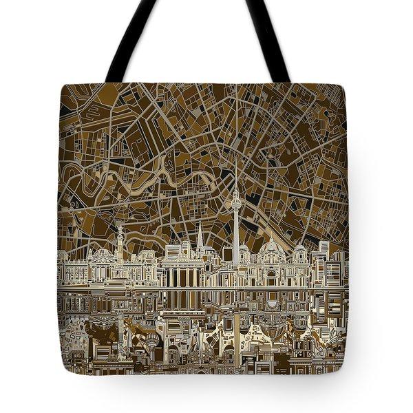Berlin City Skyline Abstract Brown Tote Bag by Bekim Art