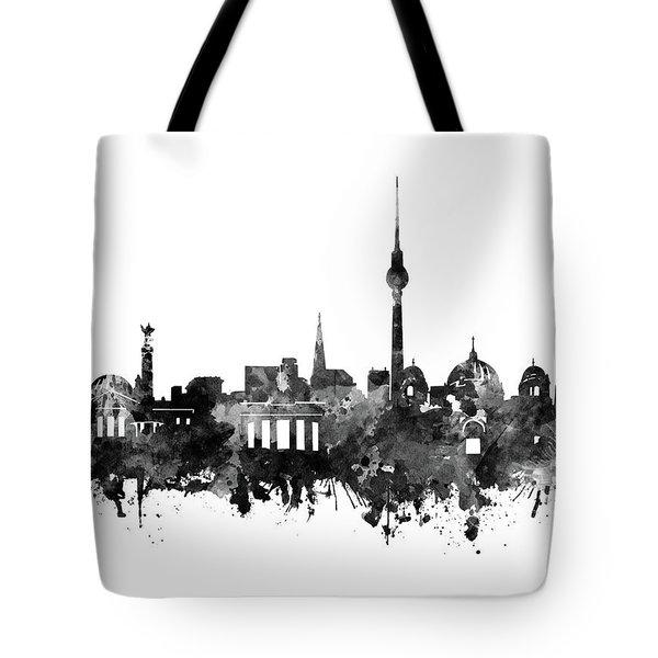 Berlin City Skyline Black And White Tote Bag by Bekim Art