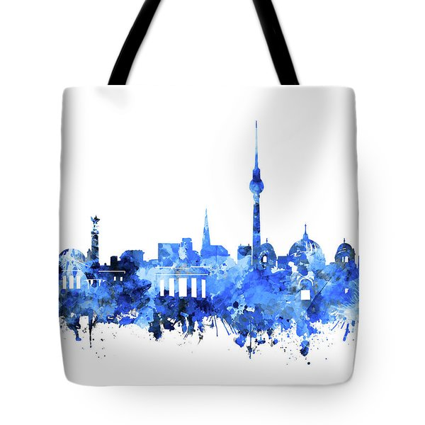 Berlin City Skyline Blue Tote Bag by Bekim Art