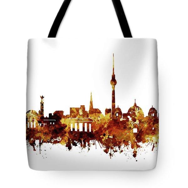 Berlin City Skyline Brown Tote Bag by Bekim Art