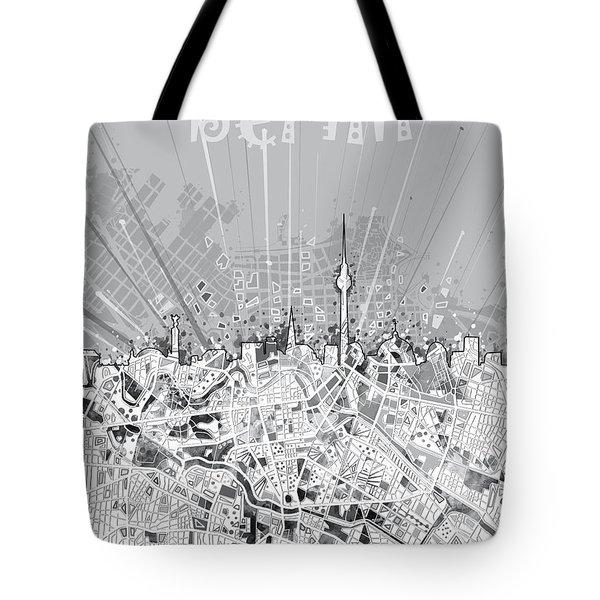 Berlin City Skyline Map 2 Tote Bag by Bekim Art