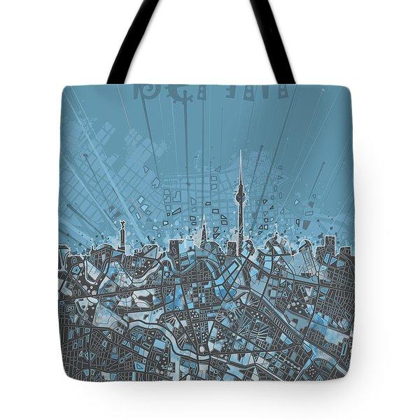 Berlin City Skyline Map 3 Tote Bag by Bekim Art