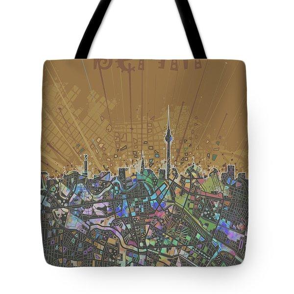 Berlin City Skyline Map 4 Tote Bag by Bekim Art