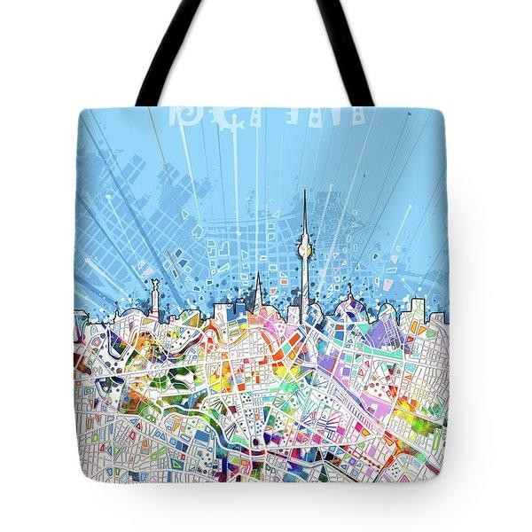 Berlin City Skyline Map Tote Bag by Bekim Art