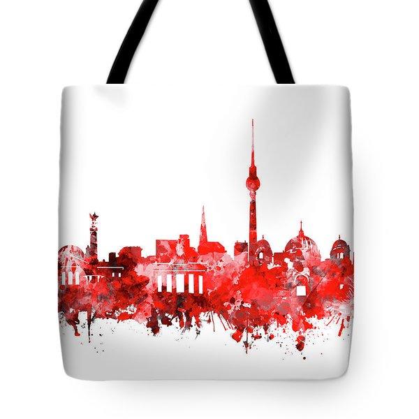 Berlin City Skyline Red Tote Bag by Bekim Art