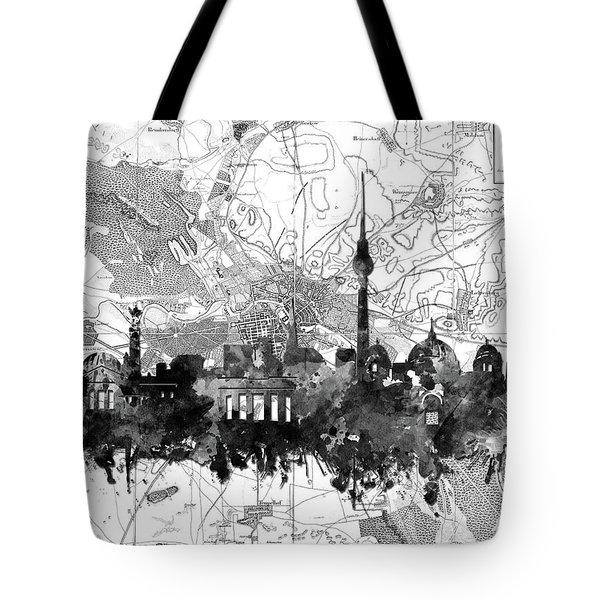 Berlin City Skyline Vintage 2 Tote Bag by Bekim Art