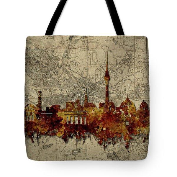 Berlin City Skyline Vintage Tote Bag by Bekim Art