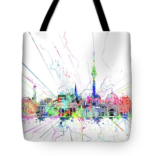 Berlin City Skyline Watercolor 2 Tote Bag by Bekim Art