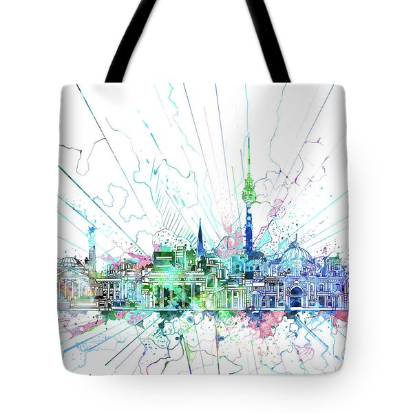 Berlin City Skyline Watercolor 3 Tote Bag by Bekim Art
