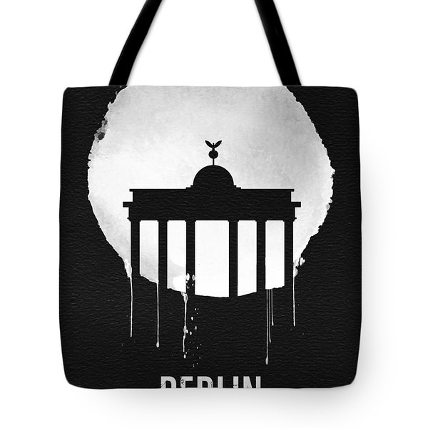 Berlin Landmark Black Tote Bag by Naxart Studio