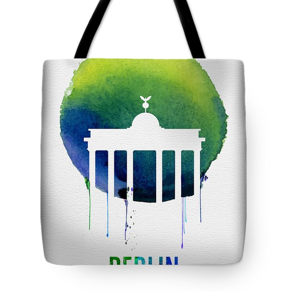 Berlin Landmark Blue Tote Bag by Naxart Studio