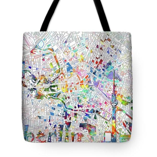 Berlin Map White Tote Bag by Bekim Art
