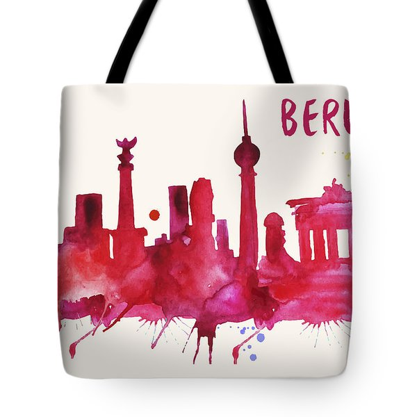 Berlin Skyline Watercolor Poster - Cityscape Painting Artwork Tote Bag