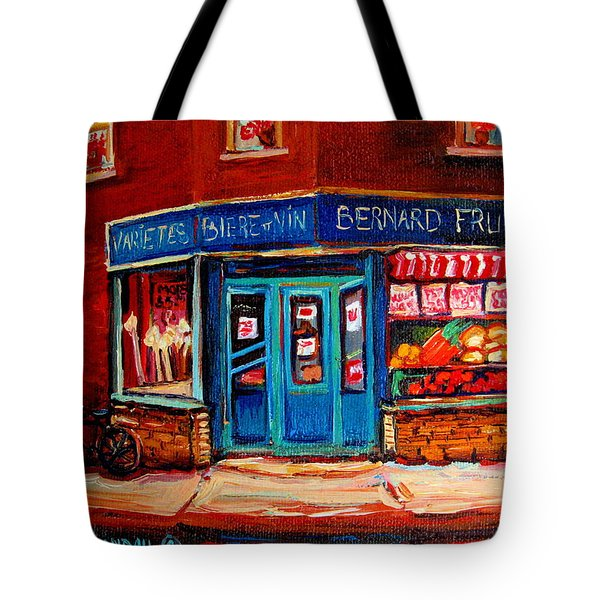 Bernard Fruit And Broomstore Tote Bag by Carole Spandau