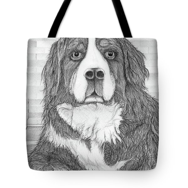 Tote Bag featuring the drawing Bernese Mountain Dog  by Jason Girard