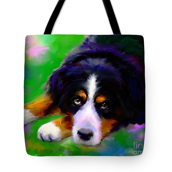 Bernese Mountain Dog Portrait Print Tote Bag