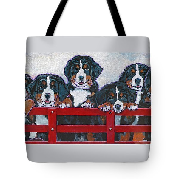 Bernese Mountain Dog Puppies Tote Bag by Nadi Spencer