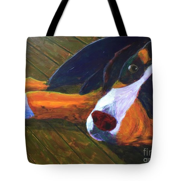 Bernese Mtn Dog On The Deck Tote Bag by Donald J Ryker III