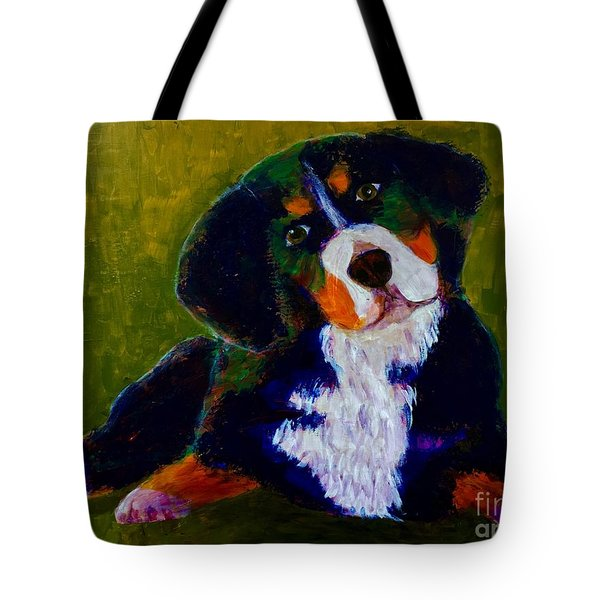 Bernese Mtn Dog Puppy Tote Bag by Donald J Ryker III