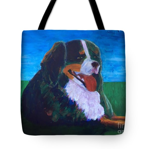 Bernese Mtn Dog Resting On The Grass Tote Bag by Donald J Ryker III