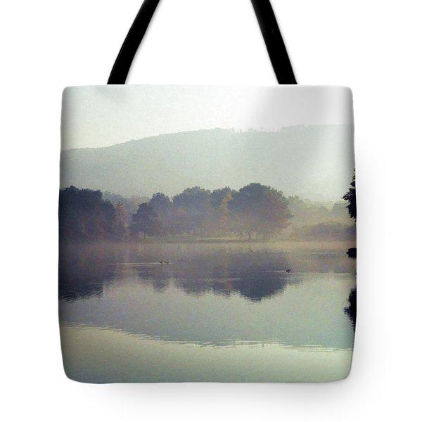 Bernharts Dam Fog 020 Tote Bag by Scott McAllister