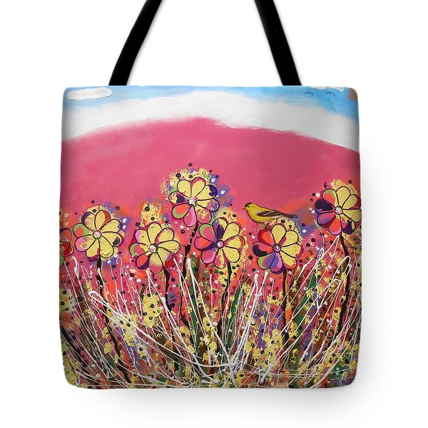 Berry Pink Flower Garden Tote Bag