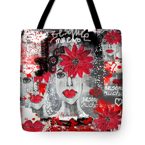 Tote Bag featuring the painting Besame Mucho by Sladjana Lazarevic